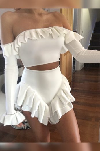 bardot frill two piece